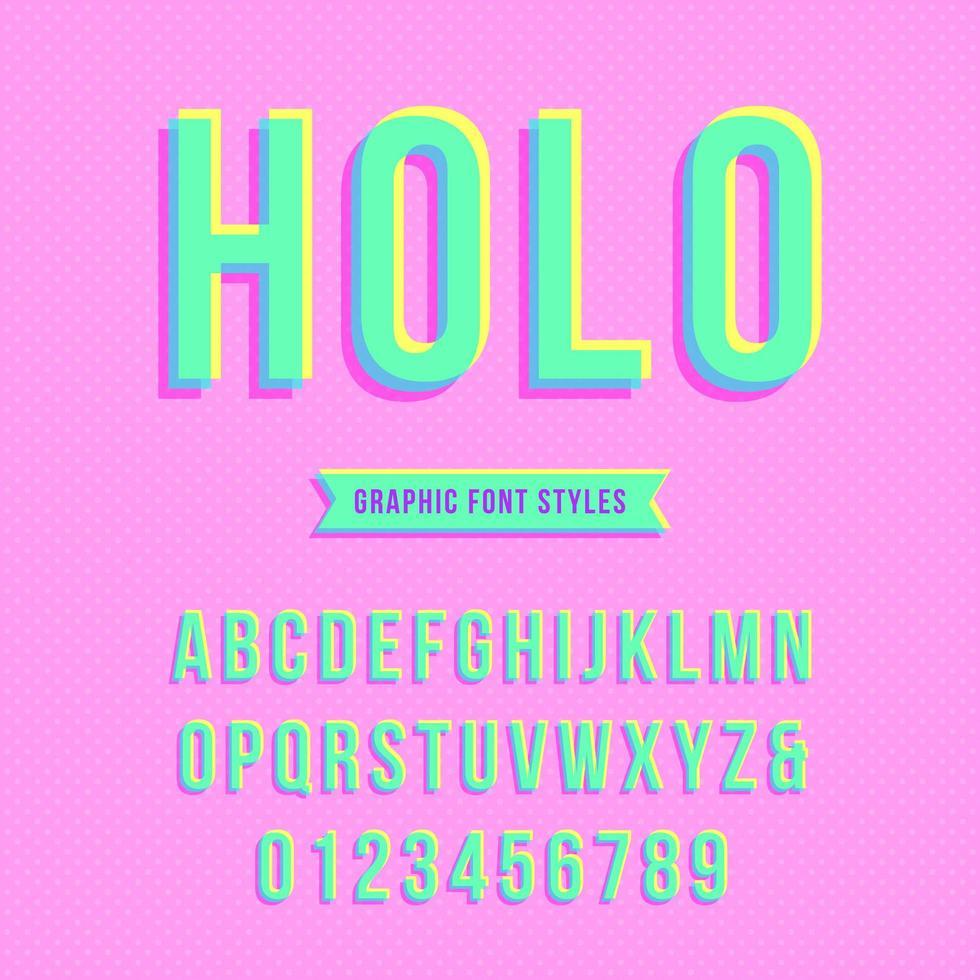 alfabeto pop sobreimpresión holográfica vector