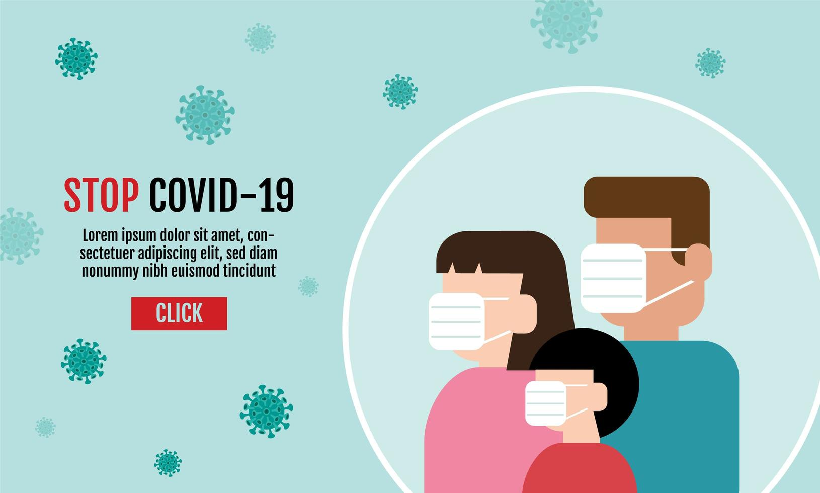 Stop Covid-19 Poster with People Wearing Masks  vector