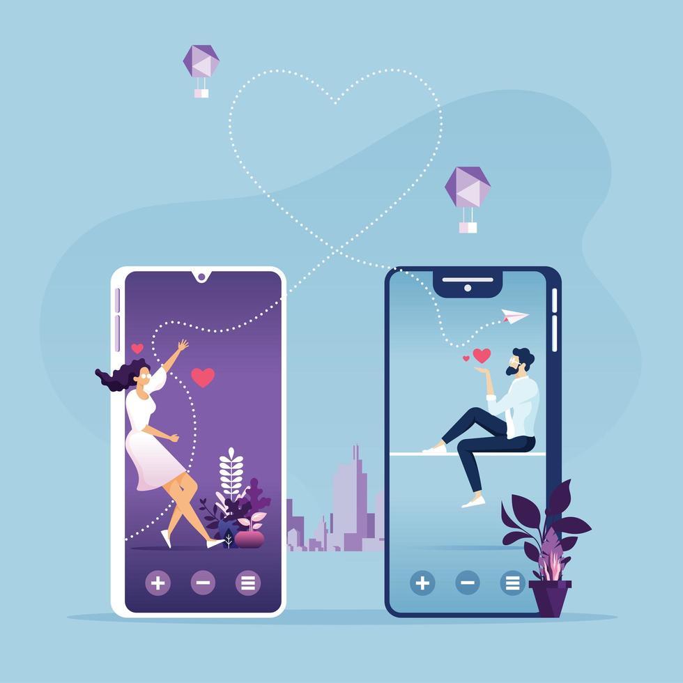 süßes Paar Online-Dating-Konzept vektor