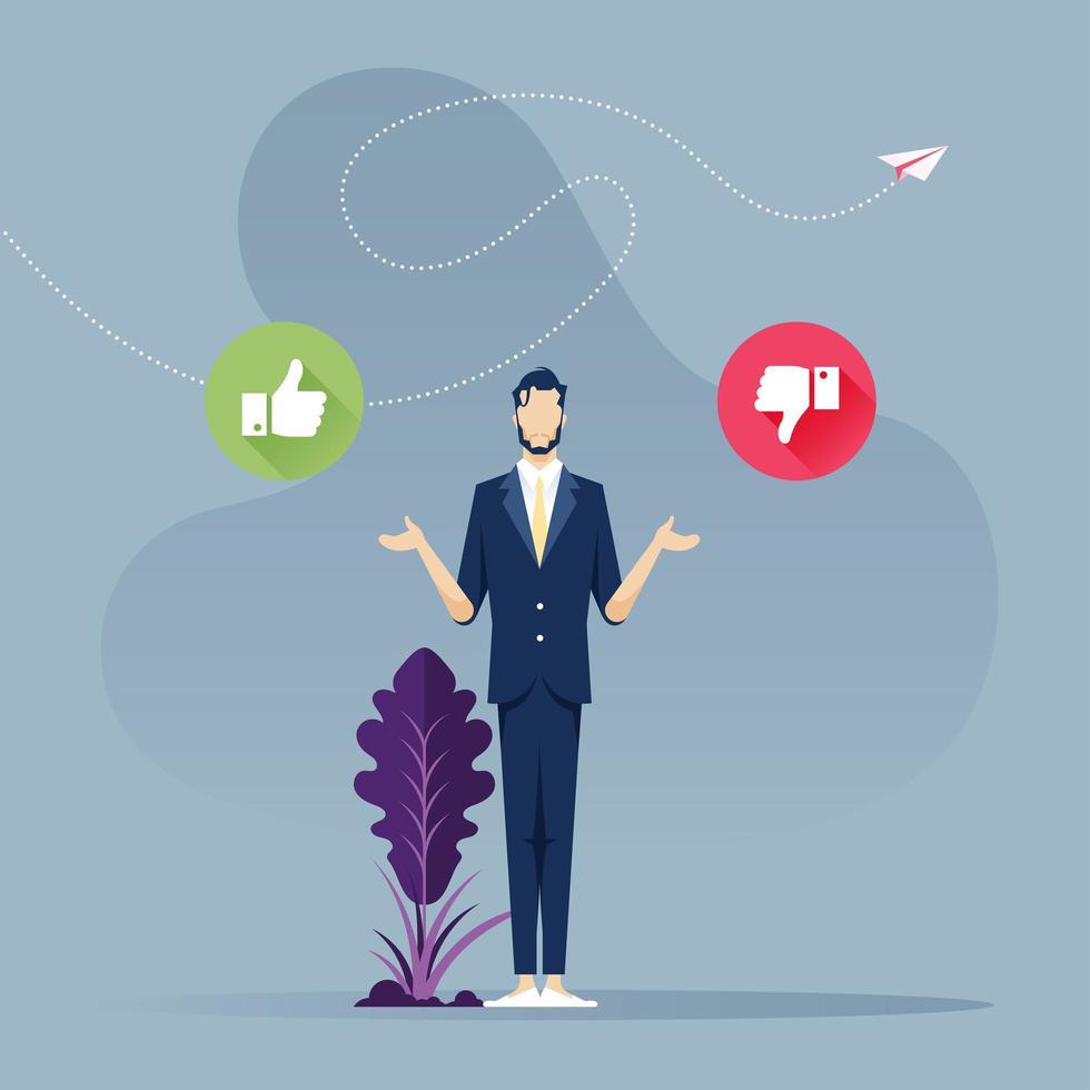 zakenman moeilijk besluitconcept vector