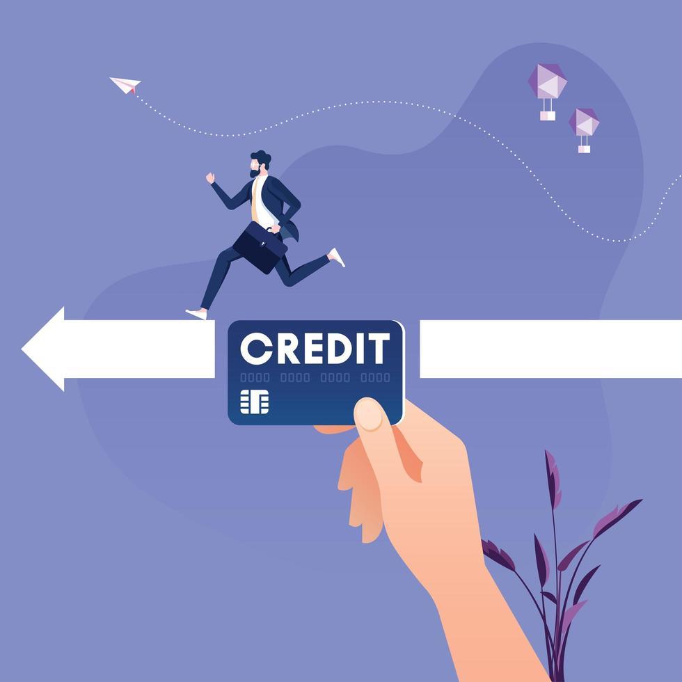 gran mano con tarjeta de crédito ayudando al emprendedor vector