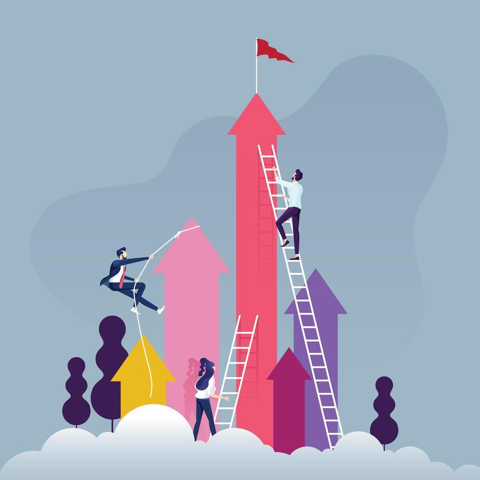 grupo de empresarios competitivos subiendo flechas vector