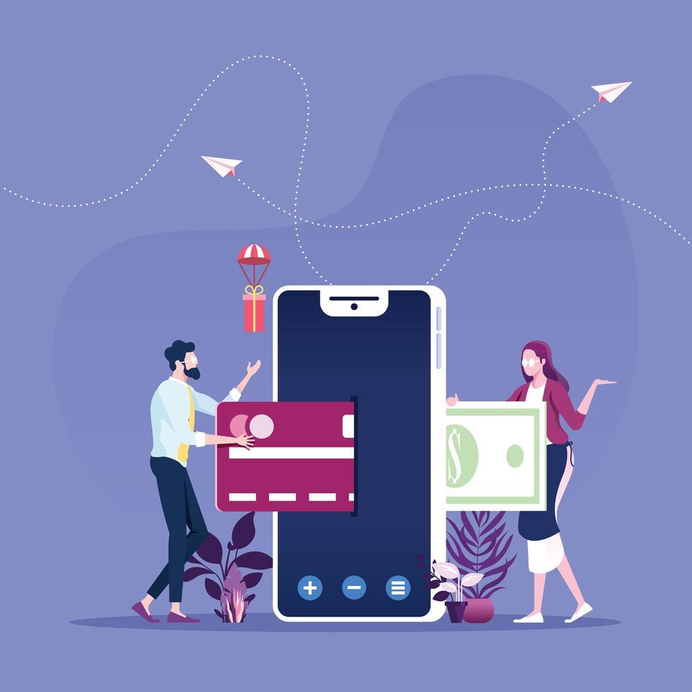 concepto de compra en línea de pago móvil vector