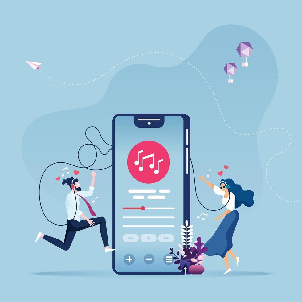 concetto di intrattenimento musicale online vettore