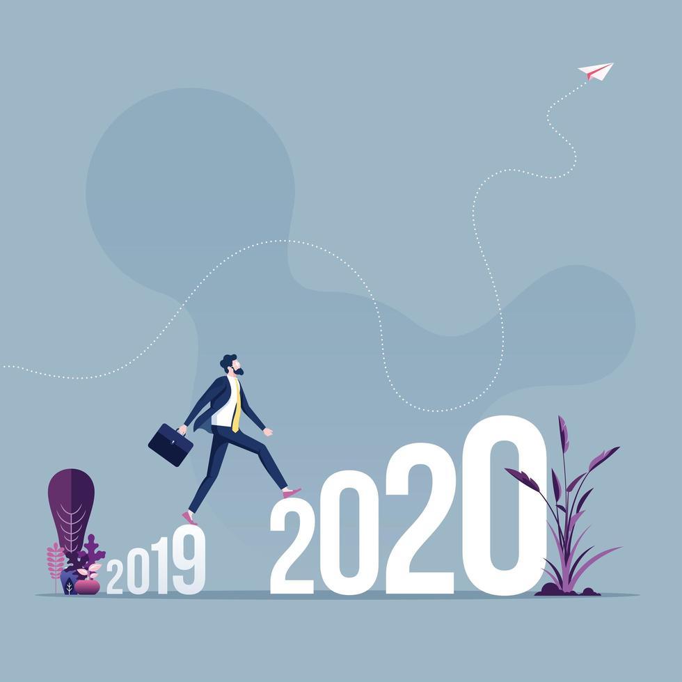 l'uomo d'affari cammina attraverso il 2019 al 2020 vettore