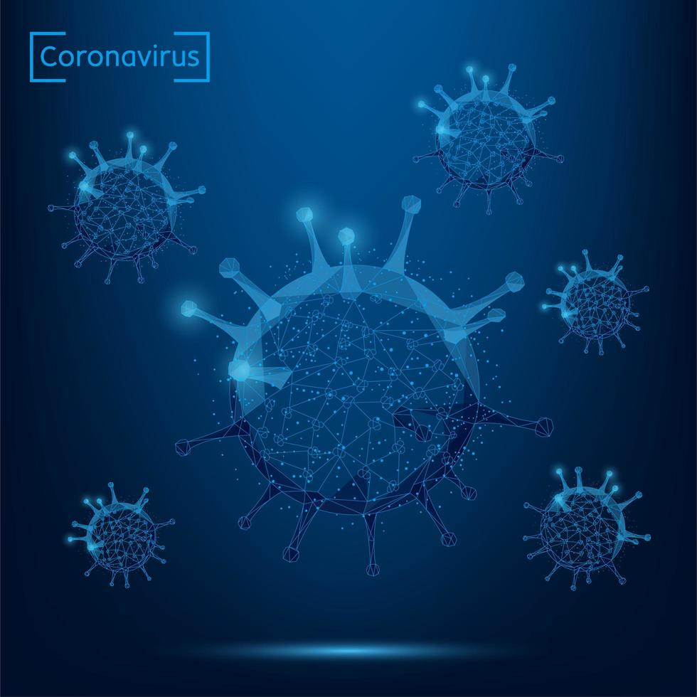Abstract line and point coronavirus cell on blue background vector