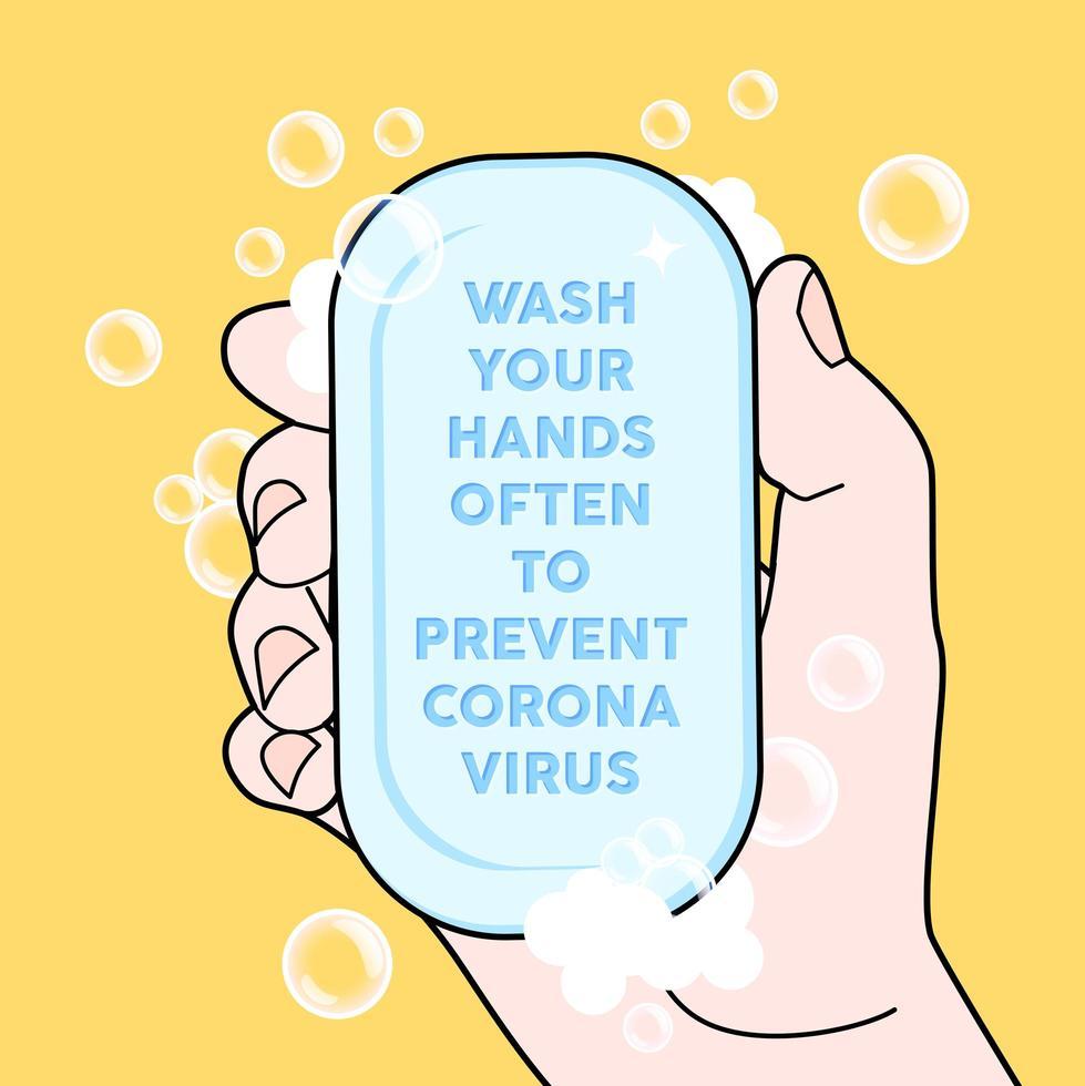 lavez-vous souvent les mains pour prévenir le virus corona. vecteur