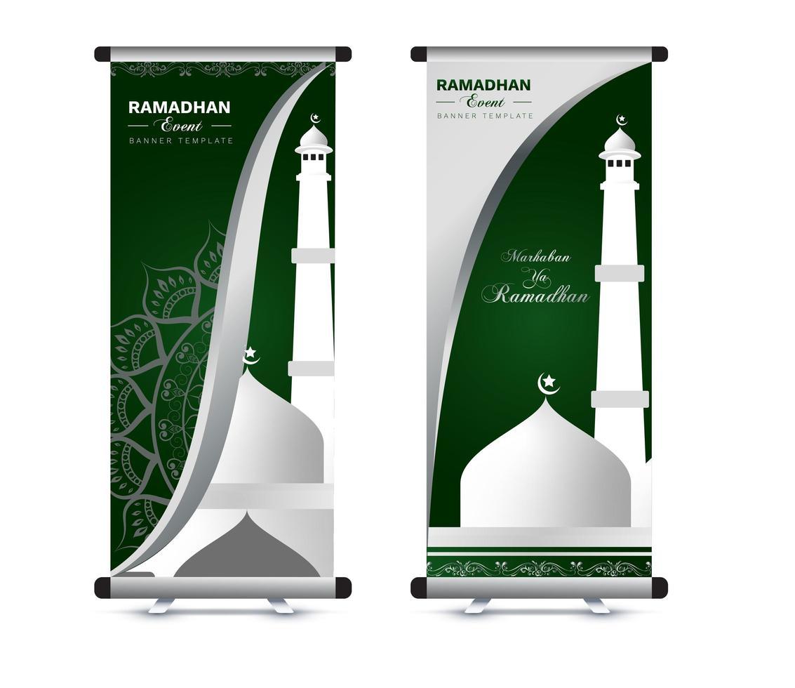 ramadan roll up banner set vector