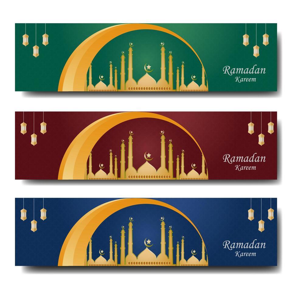 conjunto de coloridas plantillas de banner web de Ramadán vector
