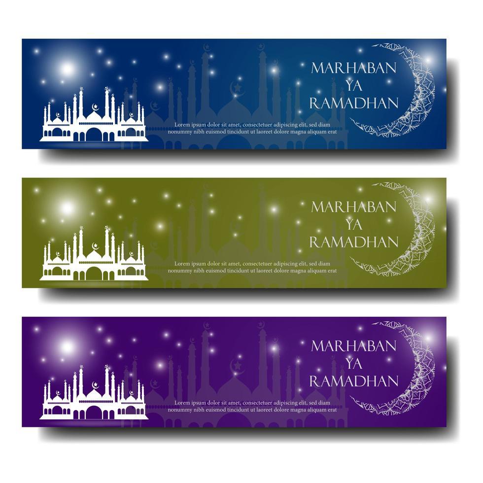 banner di saluto del Ramadan con luna e moschea vettore
