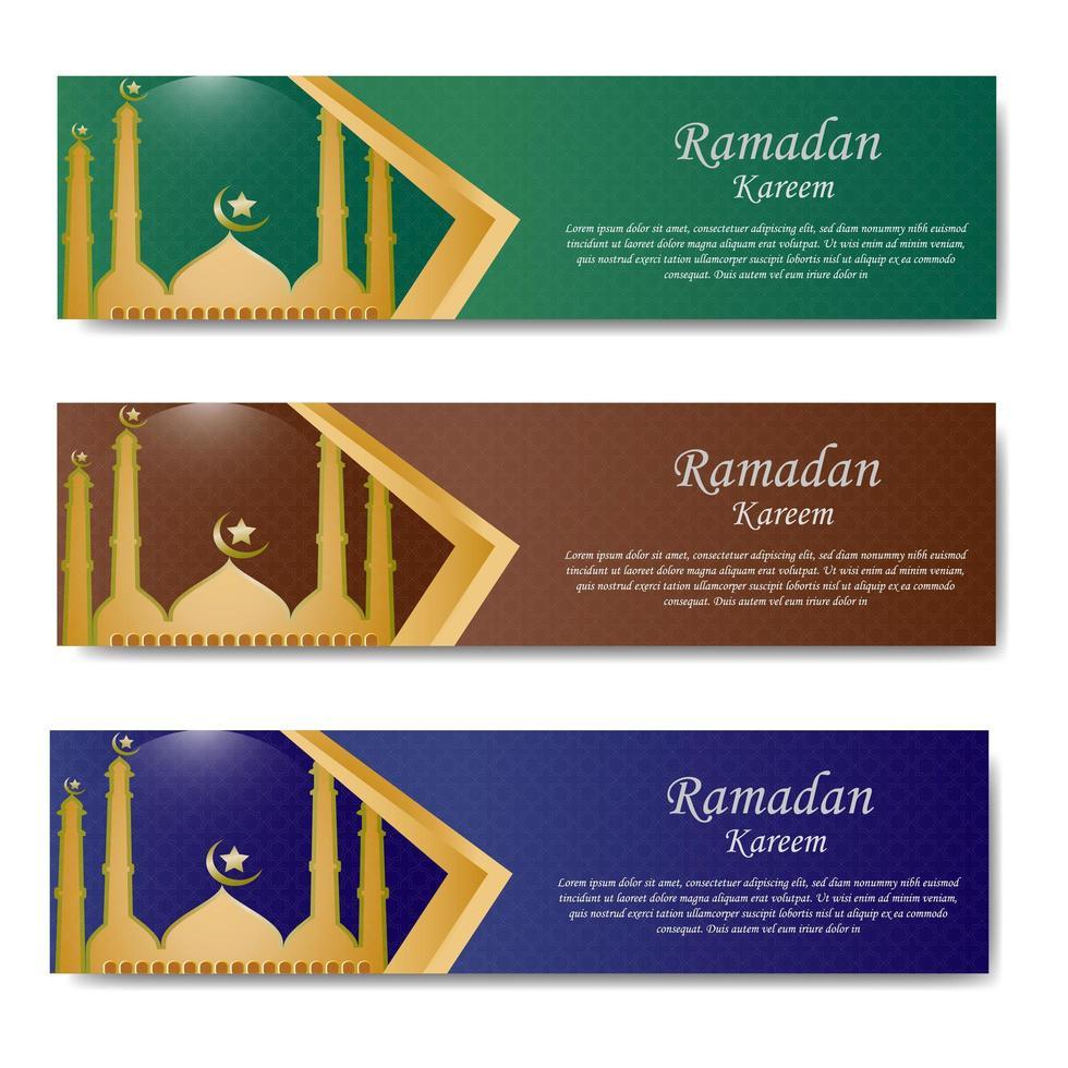banner de saludo de Ramadán con mezquita vector
