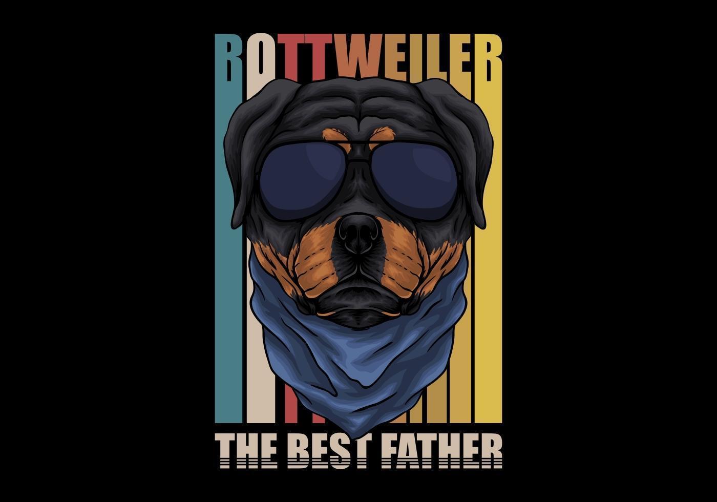 cane rottweiler retrò con gli occhiali vettore