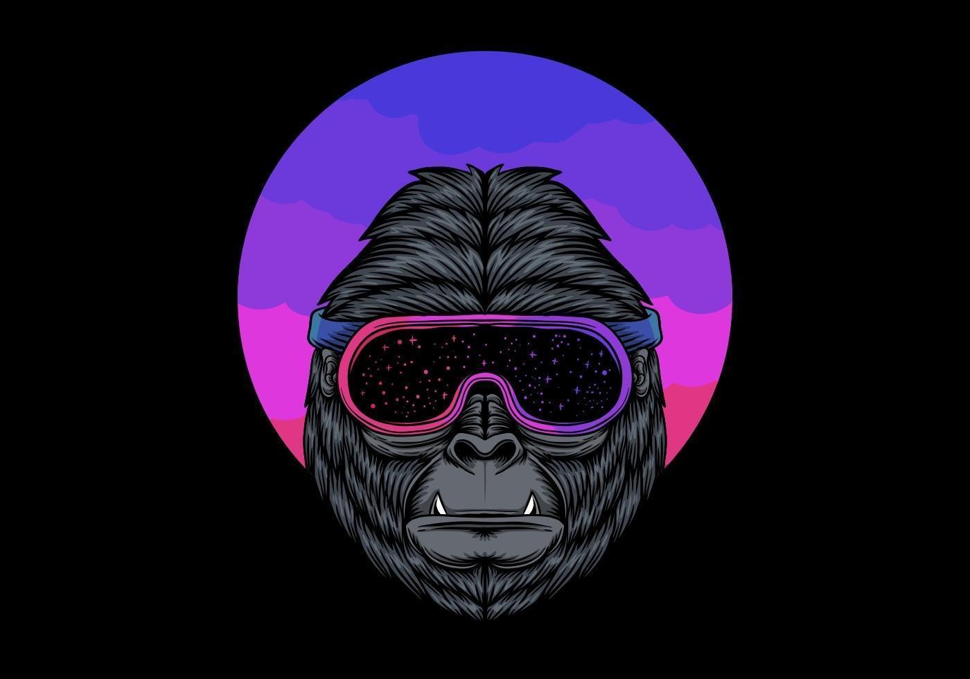 Gorilla in Space Goggles  vector