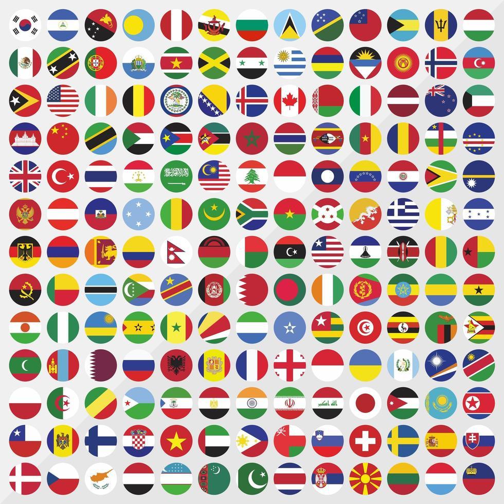 jeu d'icônes de drapeaux de pays rond vecteur