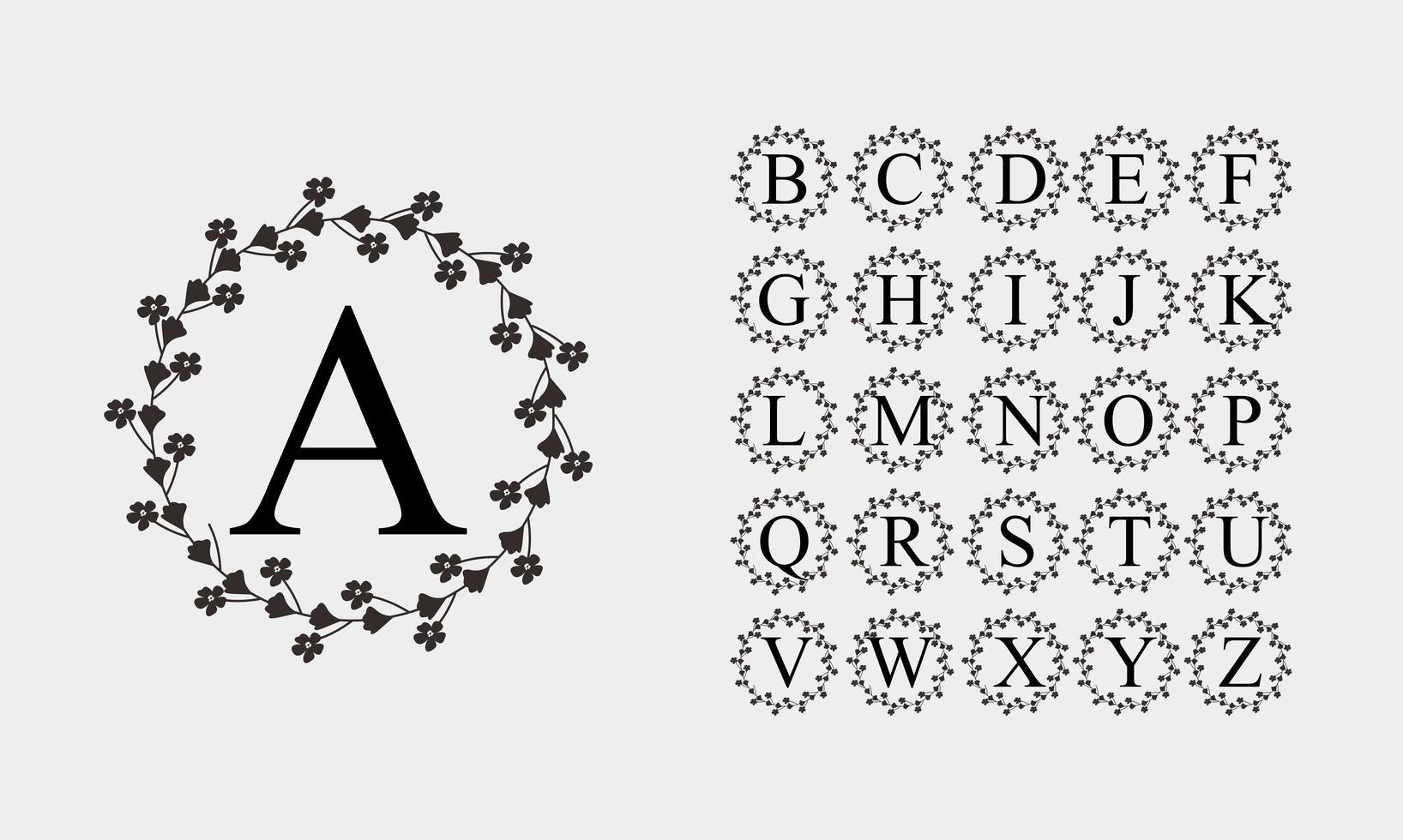 alfabeto nero in cornice fiore cerchio vettore