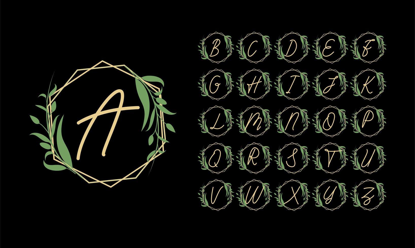 alphabet doré dans un cadre avec des feuilles vertes vecteur