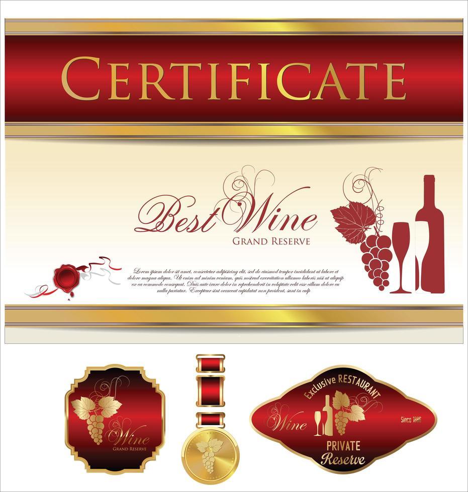 modèles de certificat et d'étiquette rouge et or vecteur