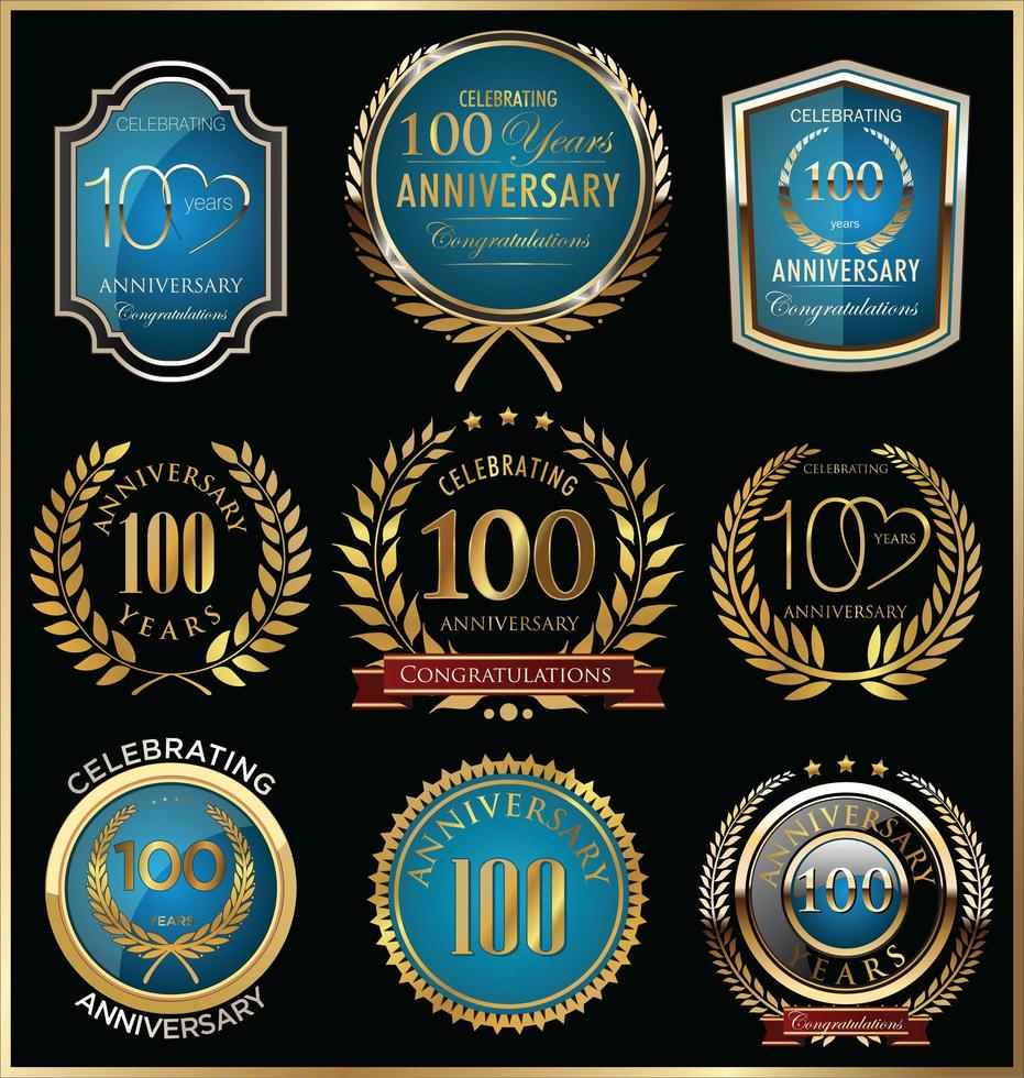 Modelli di badge per il 100 ° anniversario vettore