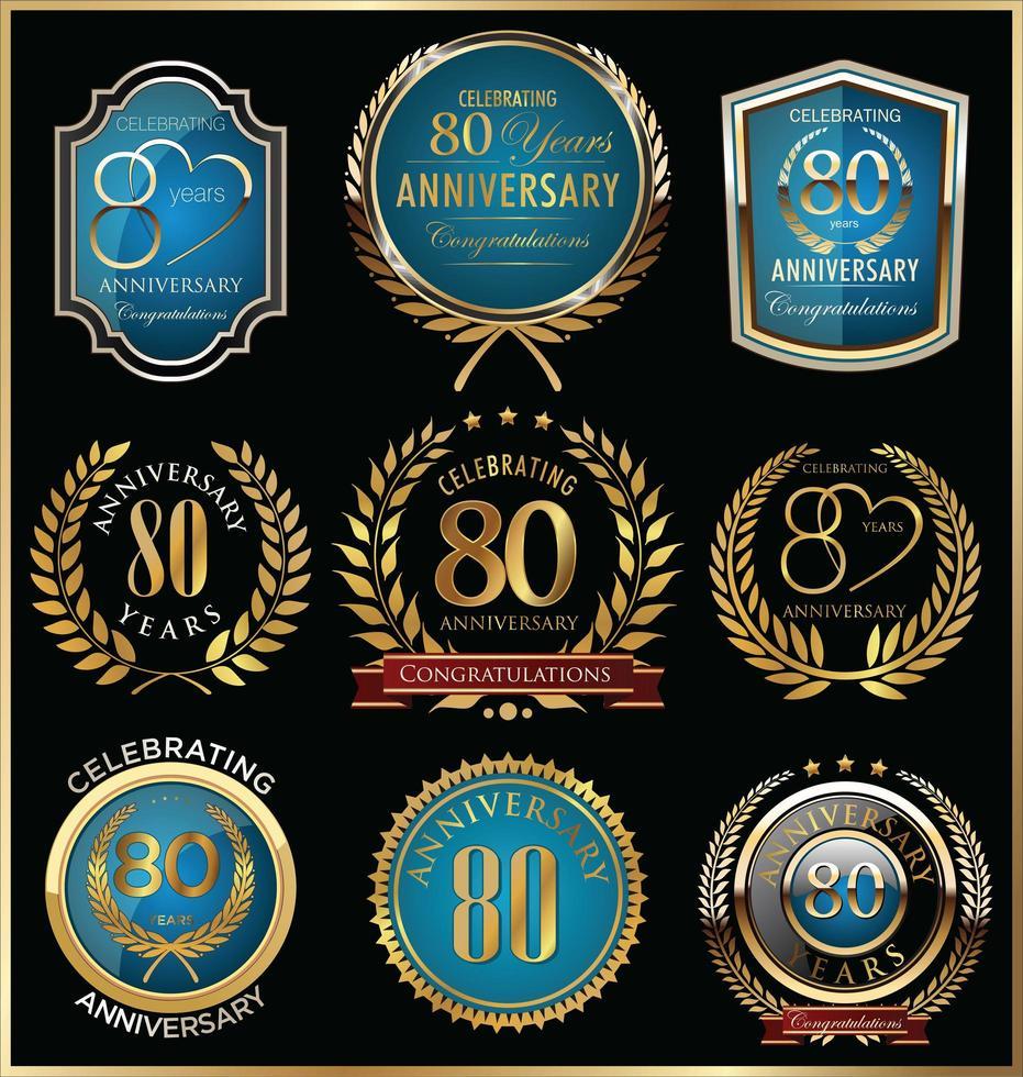 80th Anniversary Badge Templates vector