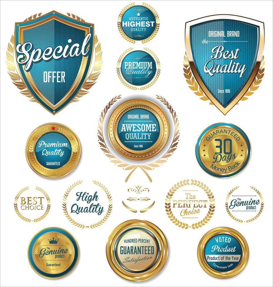 collection de badges et étiquettes rétro bleu et or vecteur