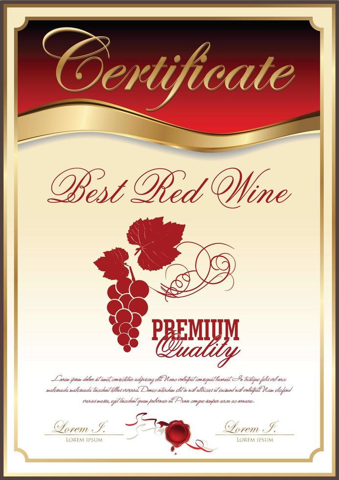 meilleur certificat de collection de vin rouge vecteur