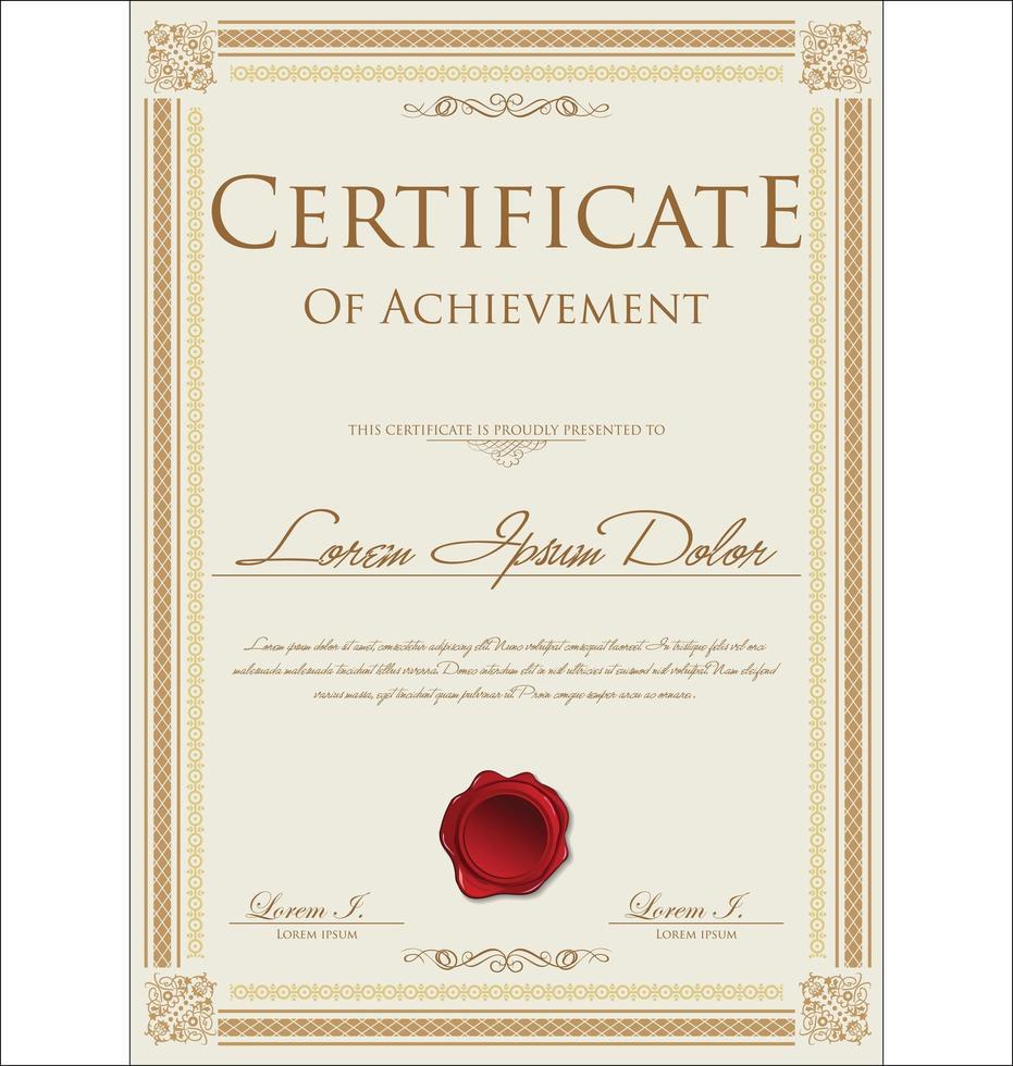 certificado de oro o diseño de diploma vector