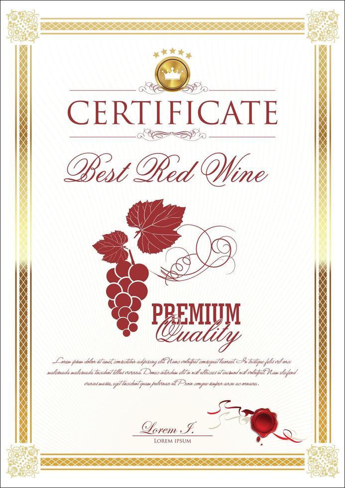 modèle de certificat de cadre doré avec image de raisin rouge vecteur