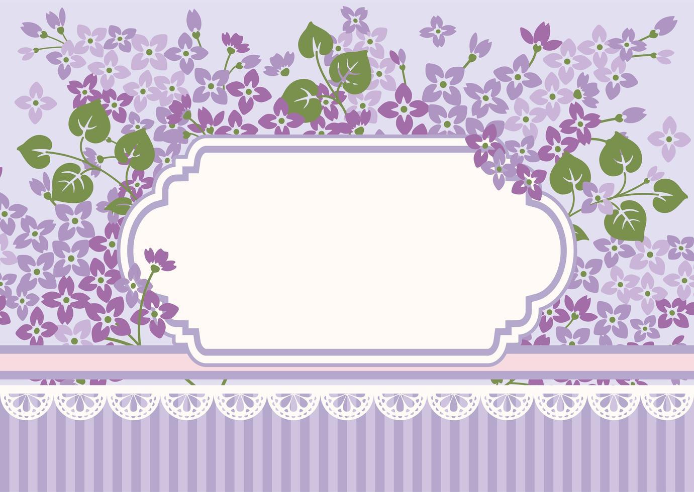 modèle de carte floral avec lilas et cadre vecteur