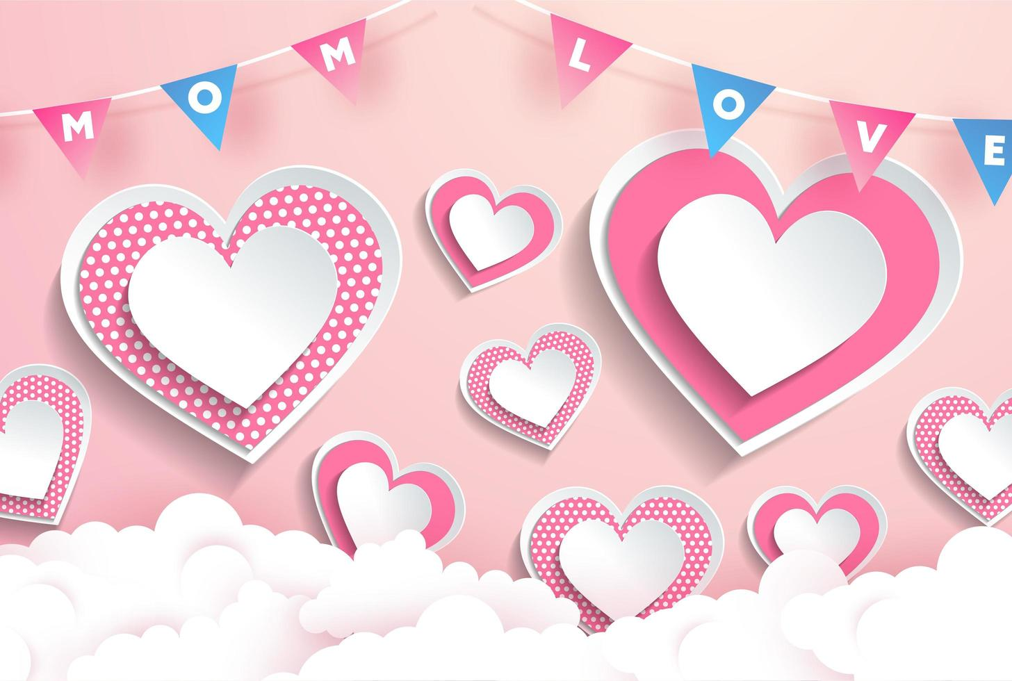 texto de amor de mamá en diseño de corazón rosa guirnalda vector