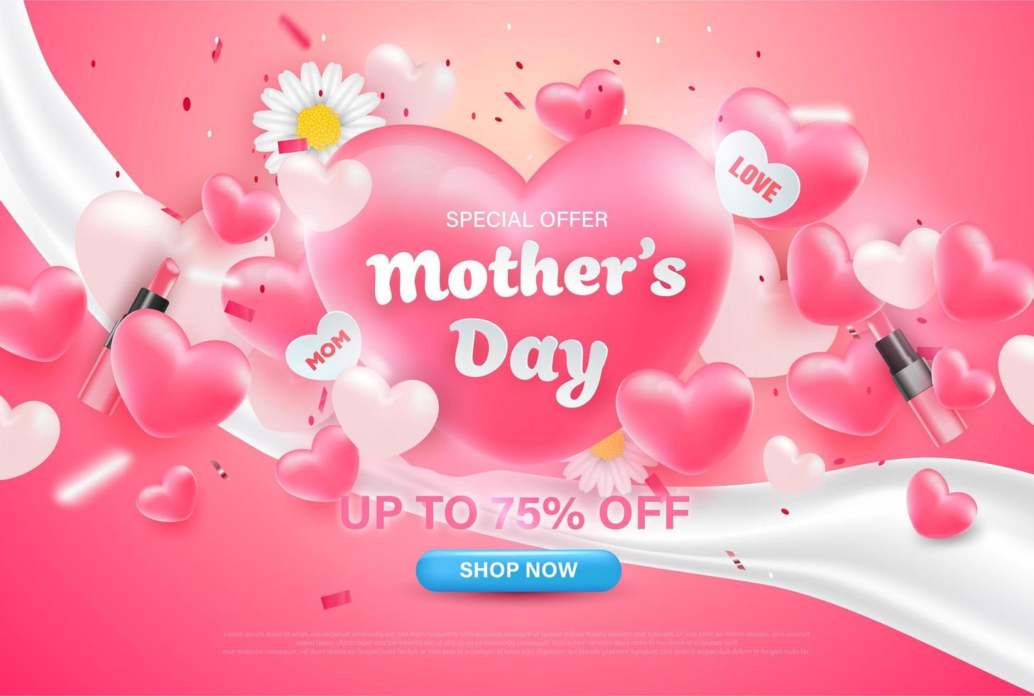 offre spéciale fond de fête des mères coeur. vecteur