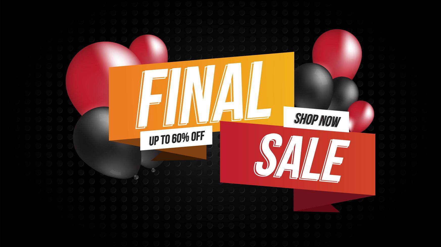banner de venta final con globos vector