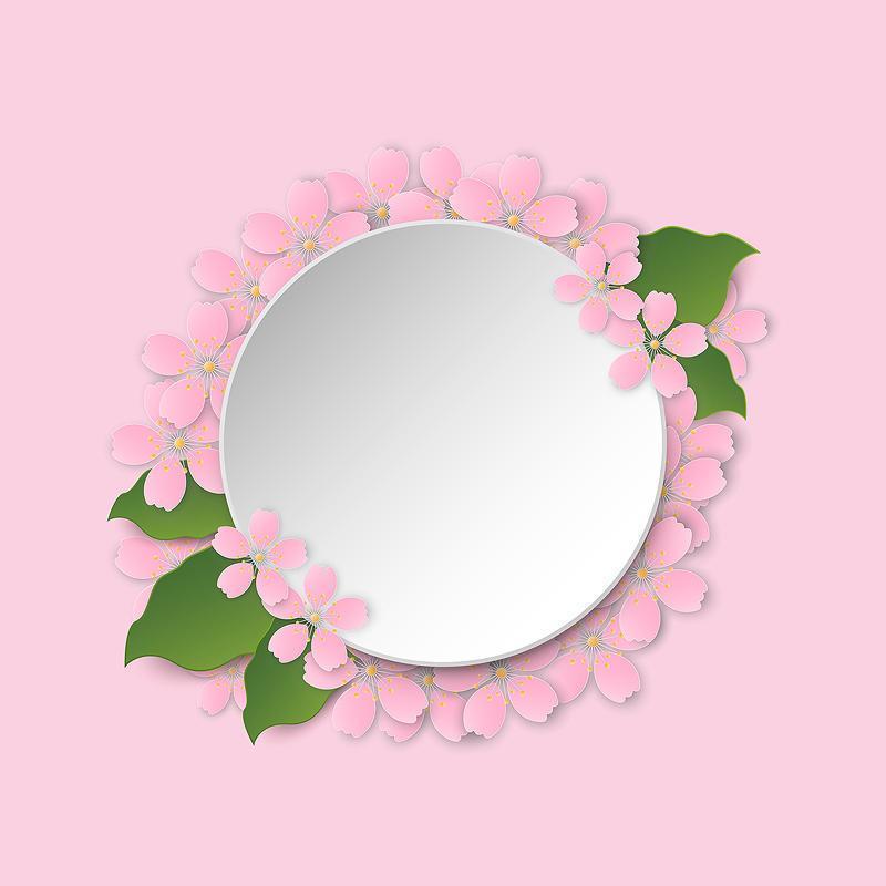 Round frame with sakura blossom vector