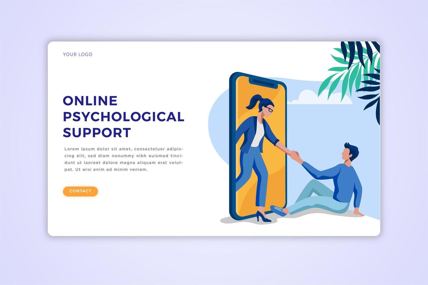 página de inicio de apoyo psicológico vector