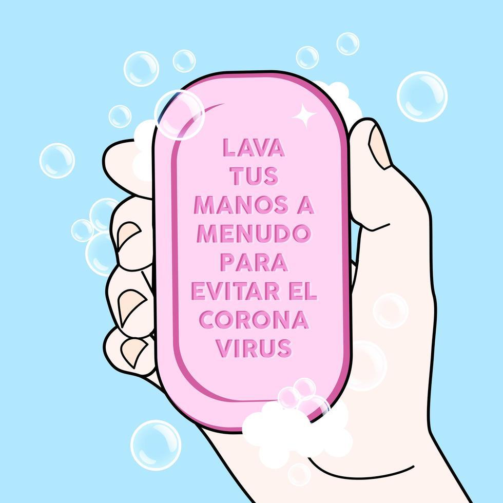 Barra de jabón de mano con instrucciones en español vector