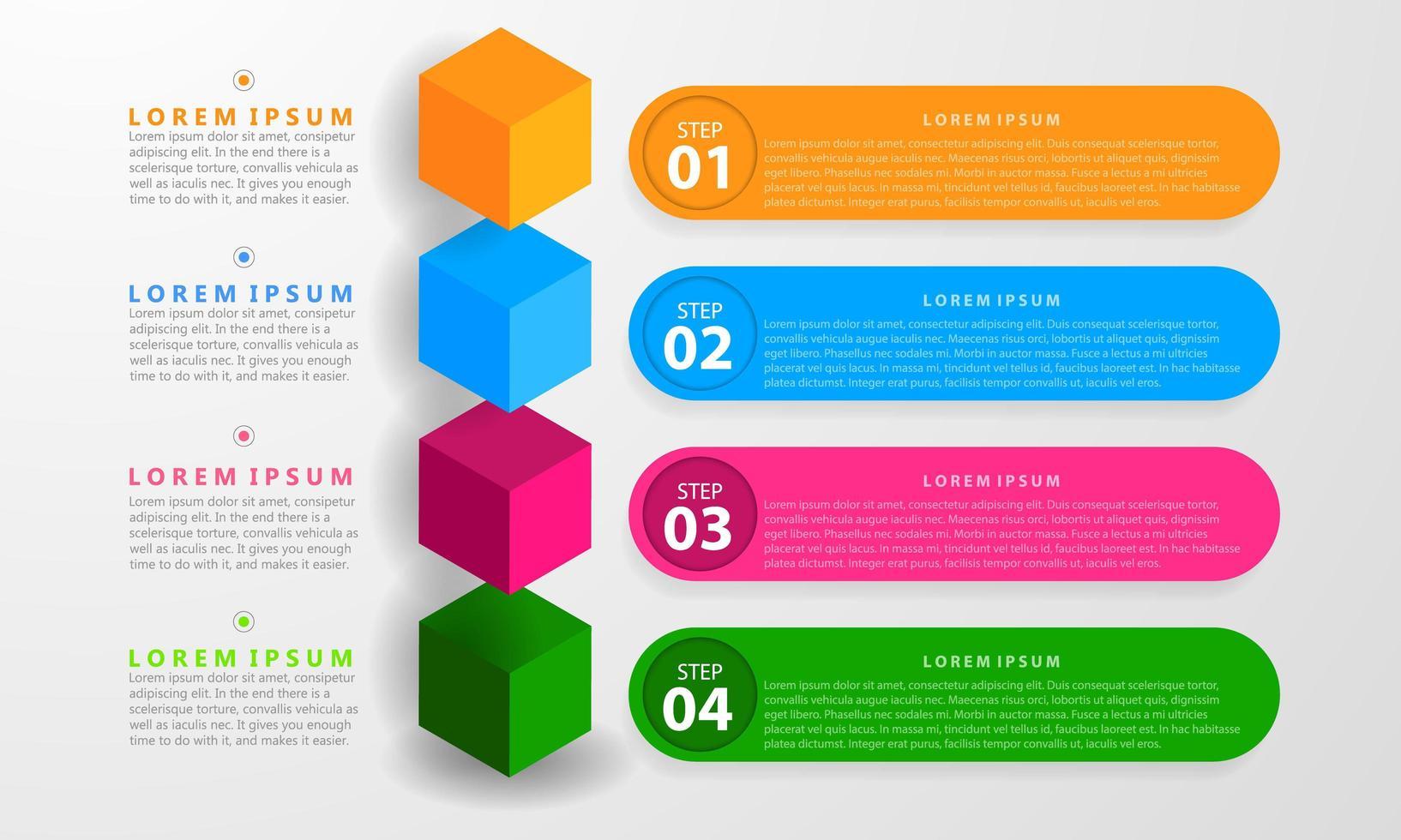 infografica con sette opzioni e cubi colorati vettore