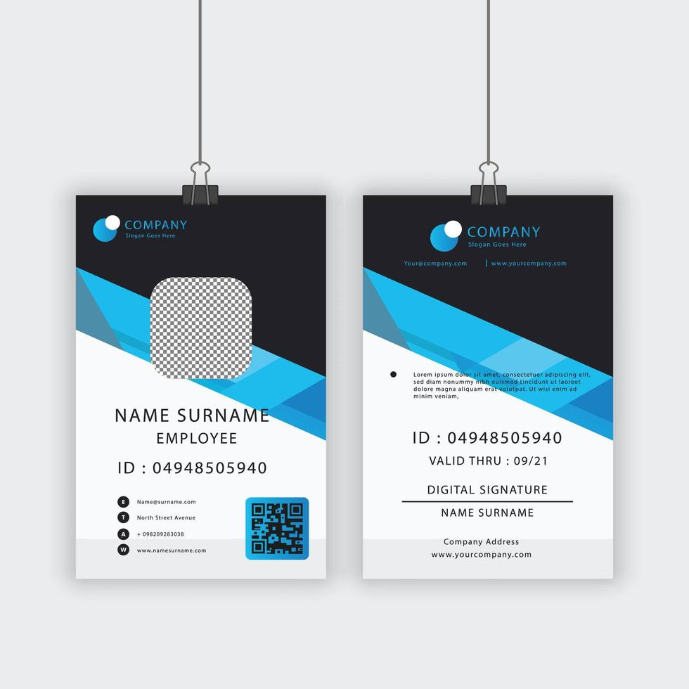 modello di carta d'identità con angolo blu vettore