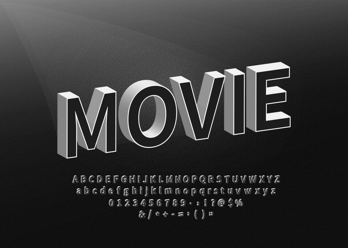 alfabeto in stile film retrò vettore