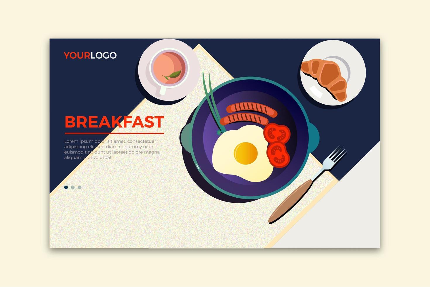 ontbijt bestemmingspagina vector