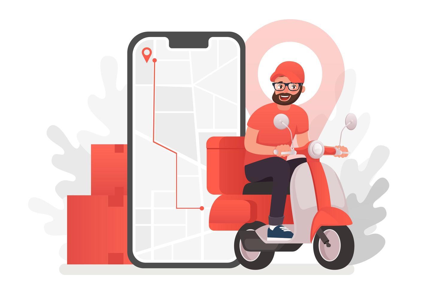 Delviery homme sur scooter en face de téléphone vecteur
