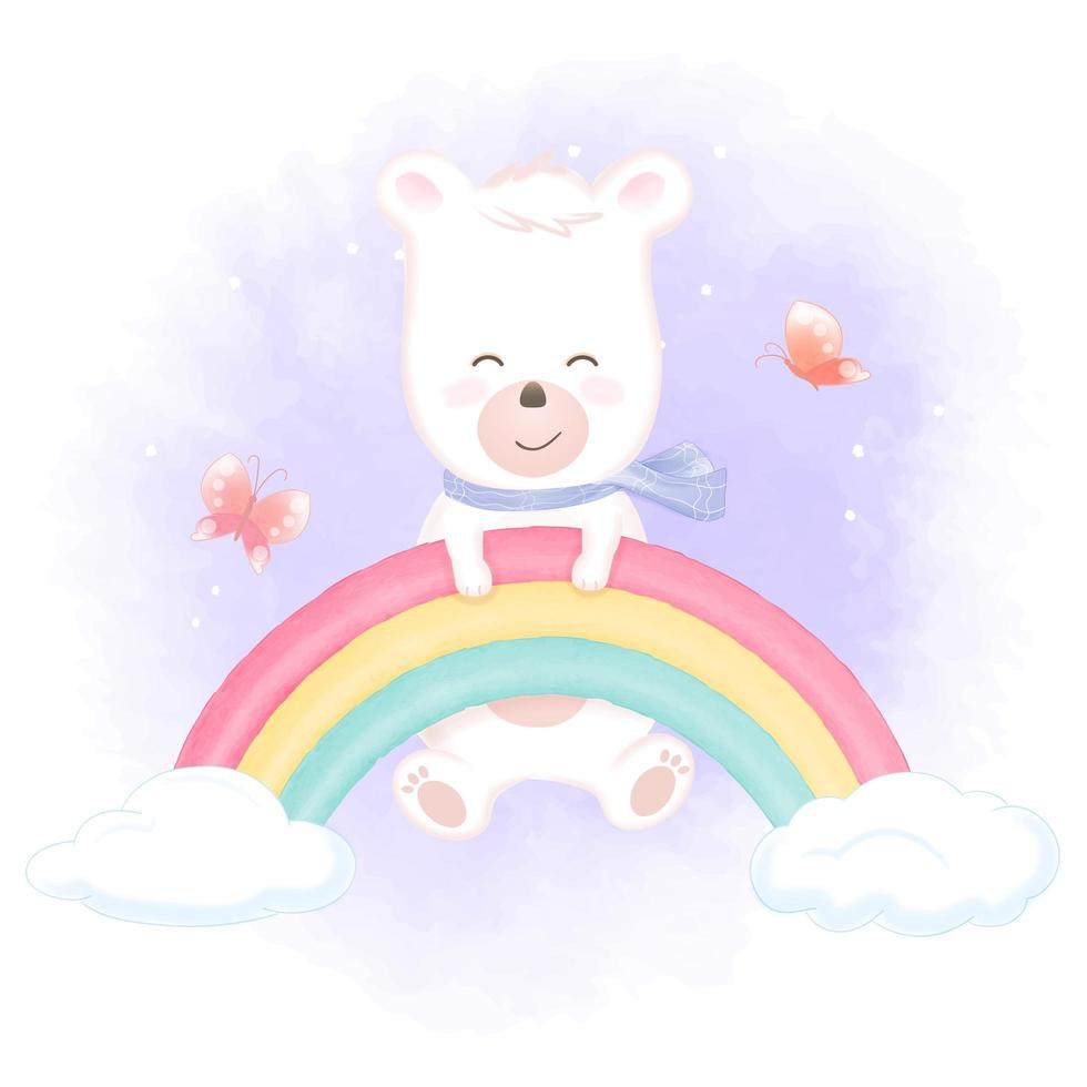 Bear hanging on rainbow with butterflies vector