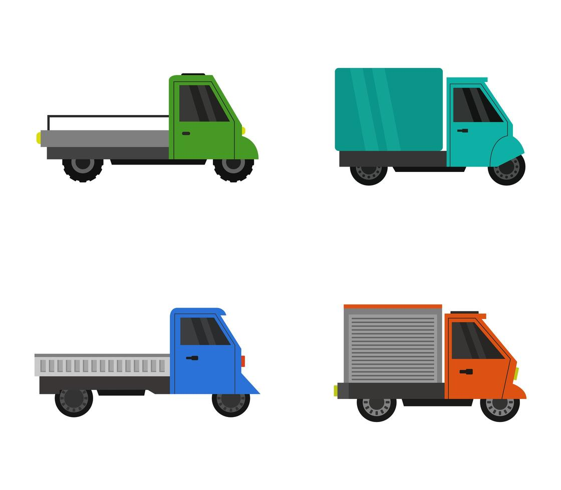 conjunto de pequeños vehículos de reparto vector