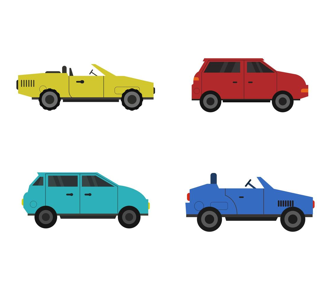 ensemble d'icônes colorées de voiture plate vecteur