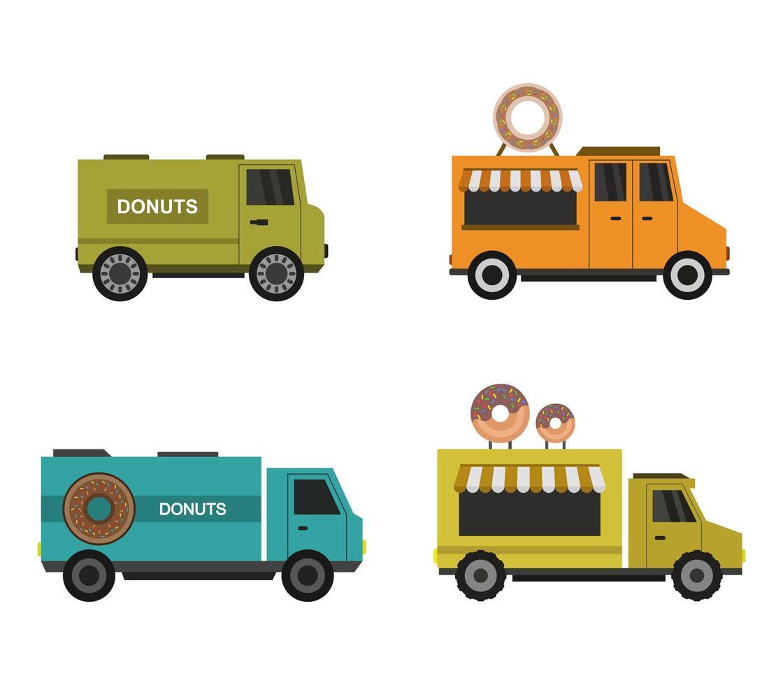 ensemble d'icônes de camion beignet vecteur