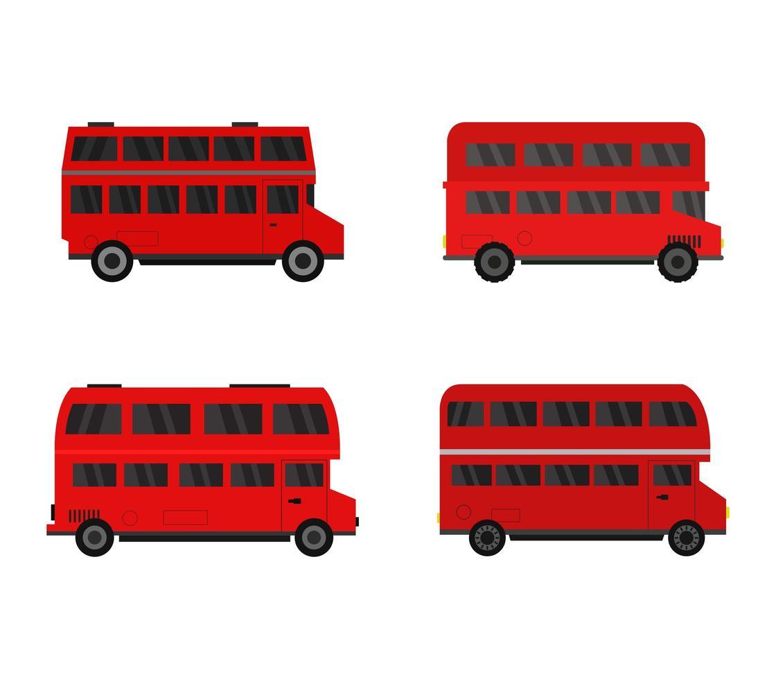 conjunto de iconos de autobús de dos pisos vector