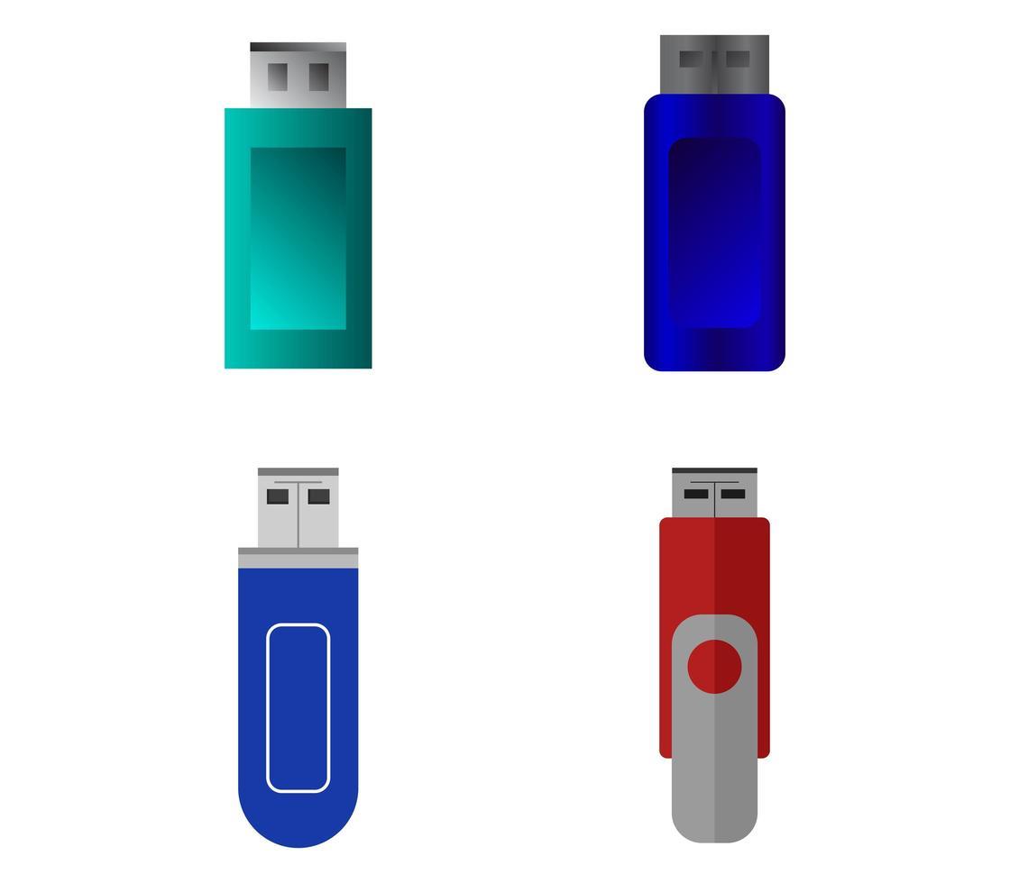 ensemble d'icônes de lecteurs USB vecteur