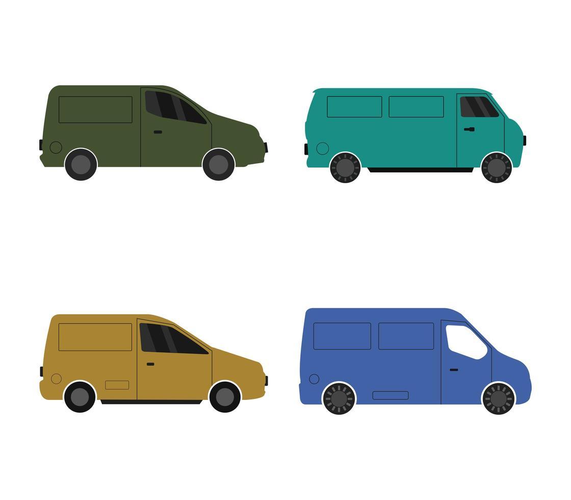 conjunto de conjunto de iconos de furgonetas vector
