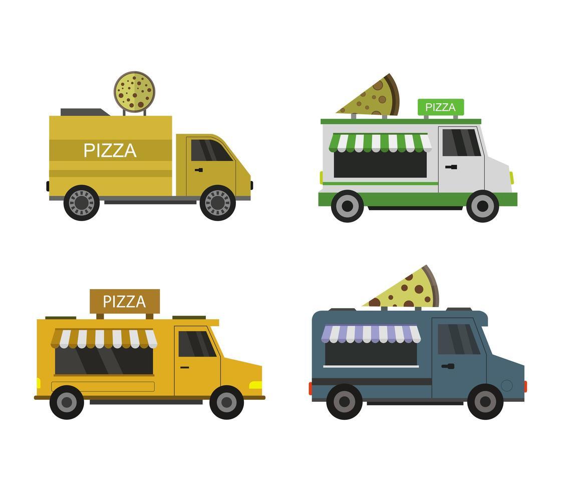 ensemble d'icônes de camion de pizza vecteur