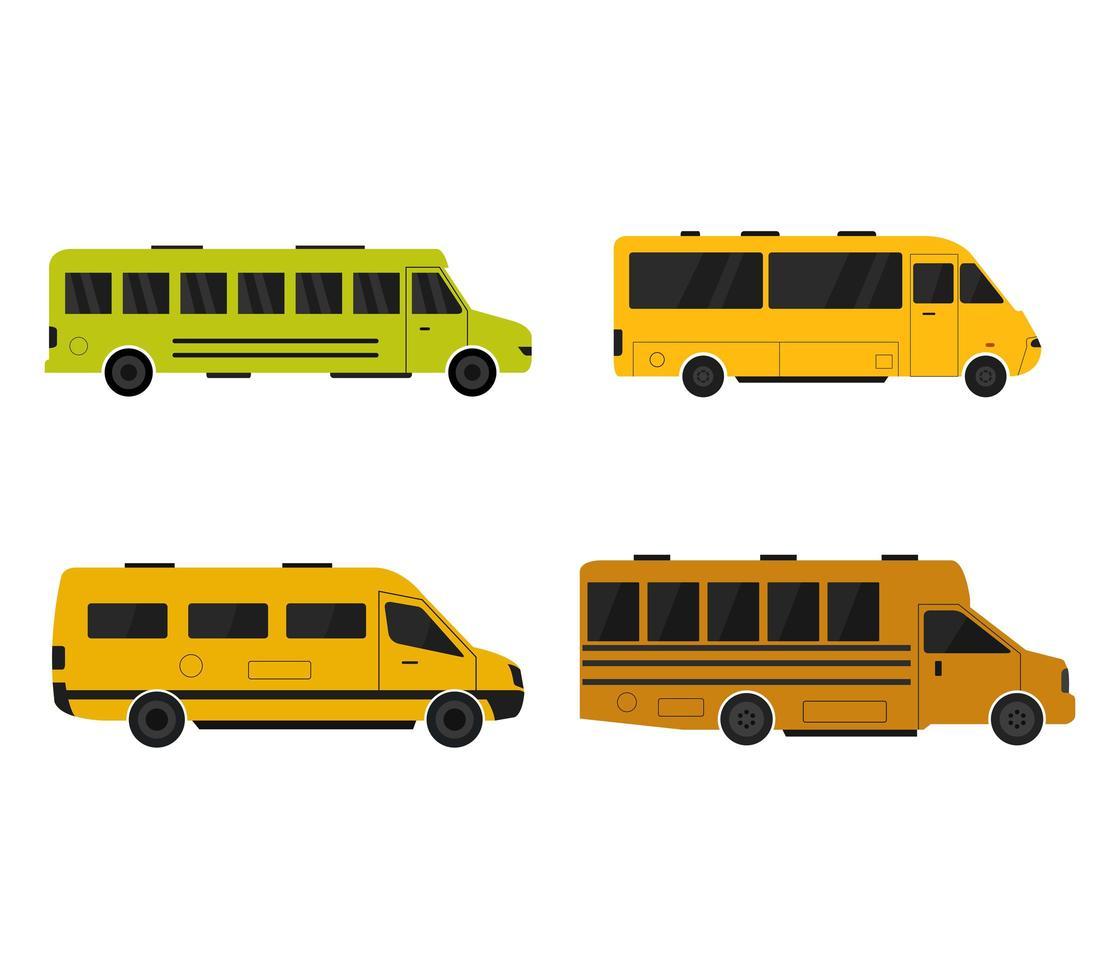 ensemble d'icônes d'autobus scolaires vecteur