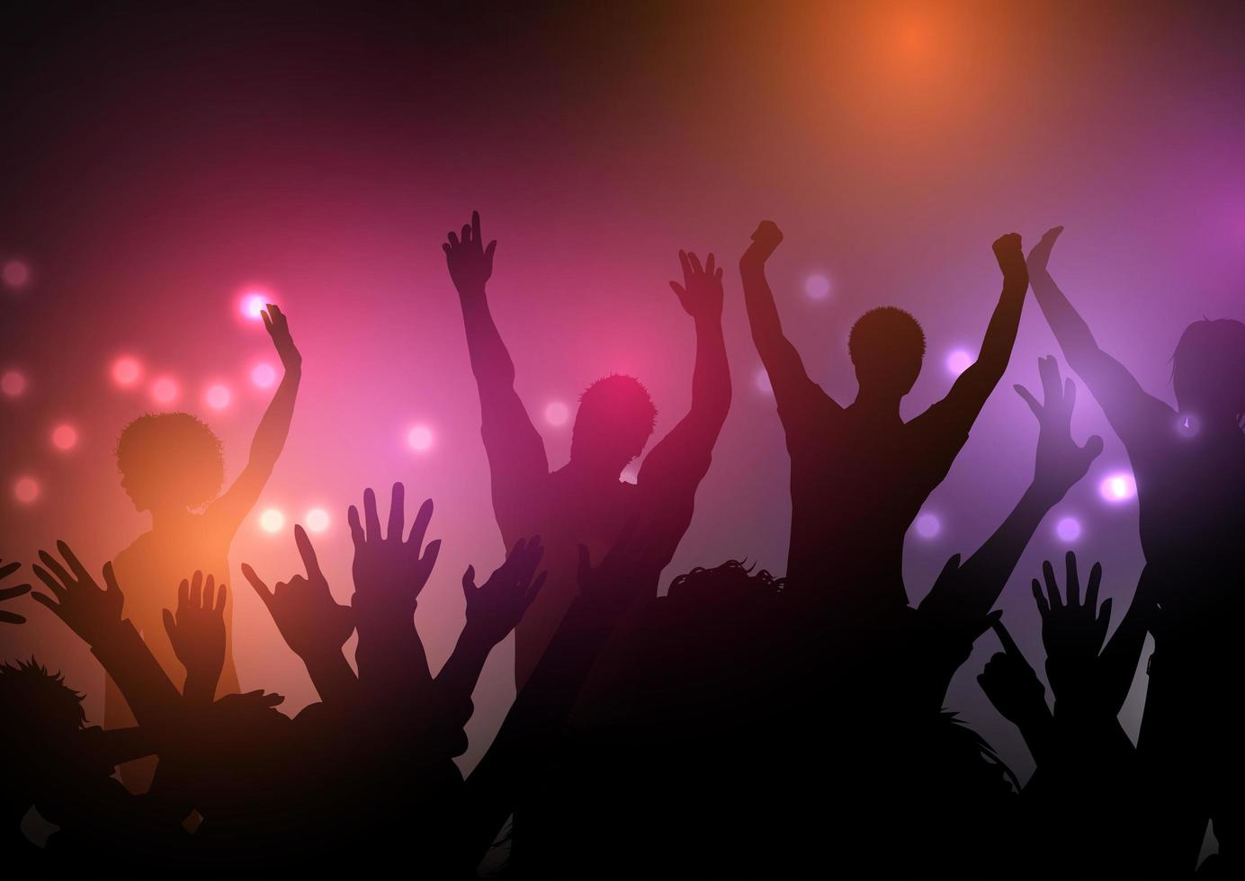silhouette de foule de fête avec des lumières vecteur