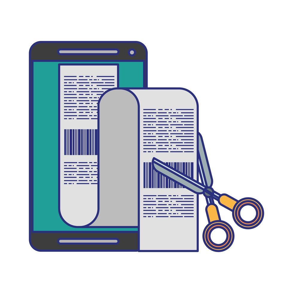 teléfono inteligente y tijeras para cortar facturas vector